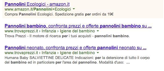 Esempio di Annuncio AdWords (in giallo) che compare nella pagina dei risultati di ricerca di Google (SERP).